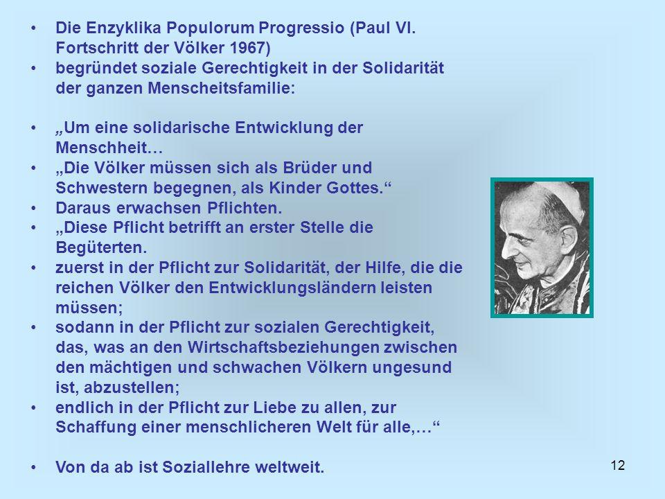 Die Enzyklika Populorum Progressio (Paul VI