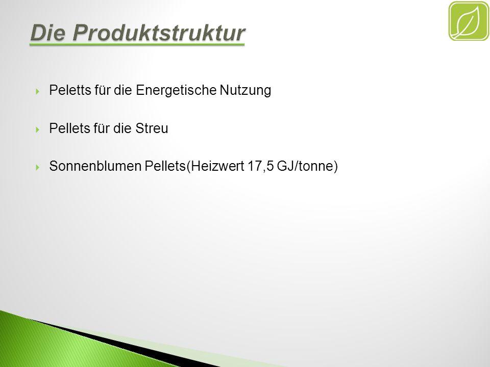 Die Produktstruktur Peletts für die Energetische Nutzung