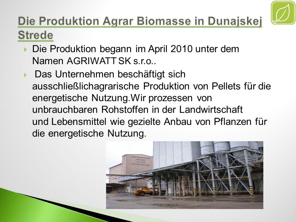 Die Produktion Agrar Biomasse in Dunajskej Strede