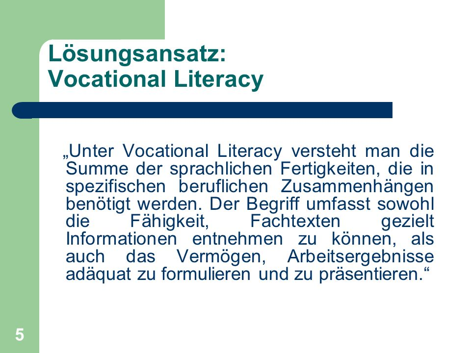Lösungsansatz: Vocational Literacy