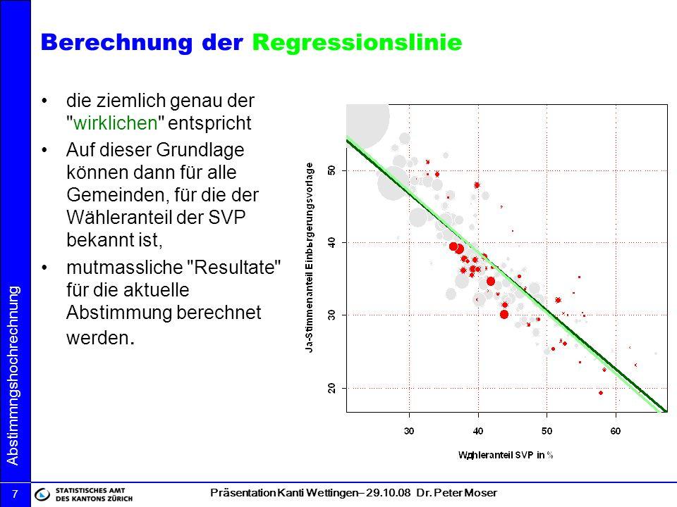 Berechnung der Regressionslinie