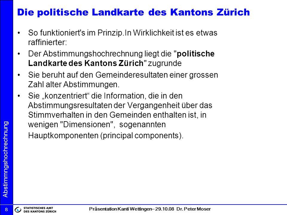Die politische Landkarte des Kantons Zürich