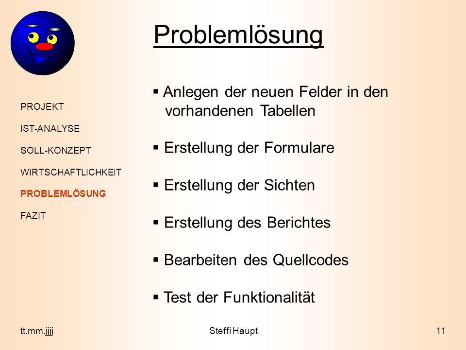 Problemlösung Anlegen der neuen Felder in den vorhandenen Tabellen