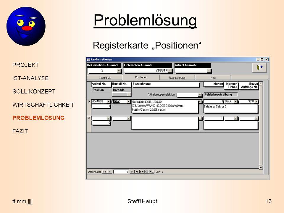 """Problemlösung Registerkarte """"Positionen PROJEKT IST-ANALYSE"""