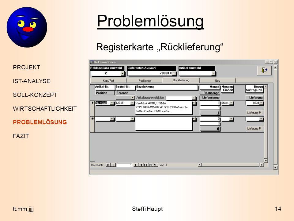 """Problemlösung Registerkarte """"Rücklieferung PROJEKT IST-ANALYSE"""