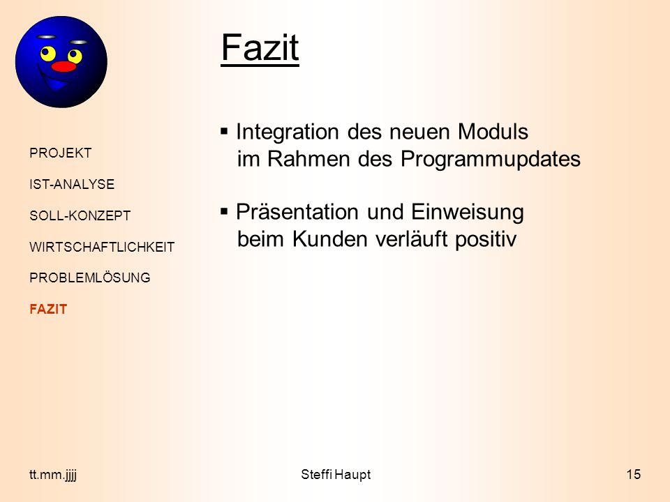 Fazit Integration des neuen Moduls im Rahmen des Programmupdates