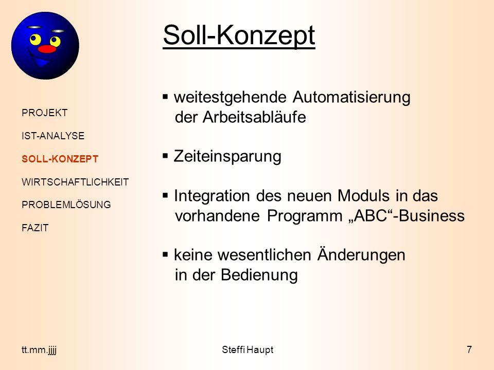 Soll-Konzept weitestgehende Automatisierung der Arbeitsabläufe
