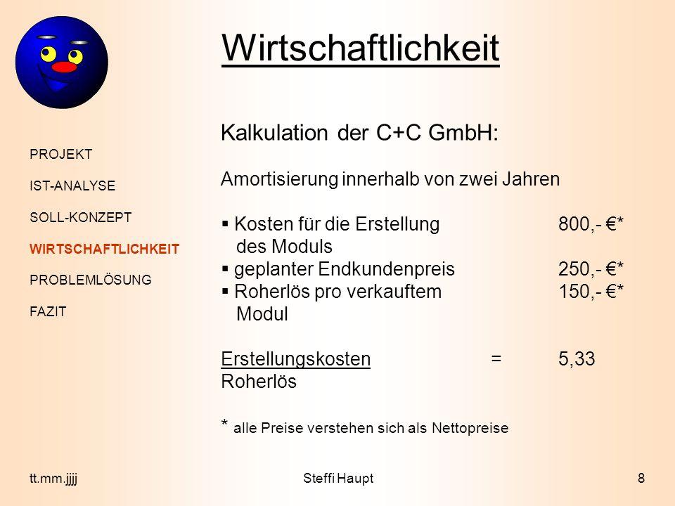 Wirtschaftlichkeit Kalkulation der C+C GmbH: