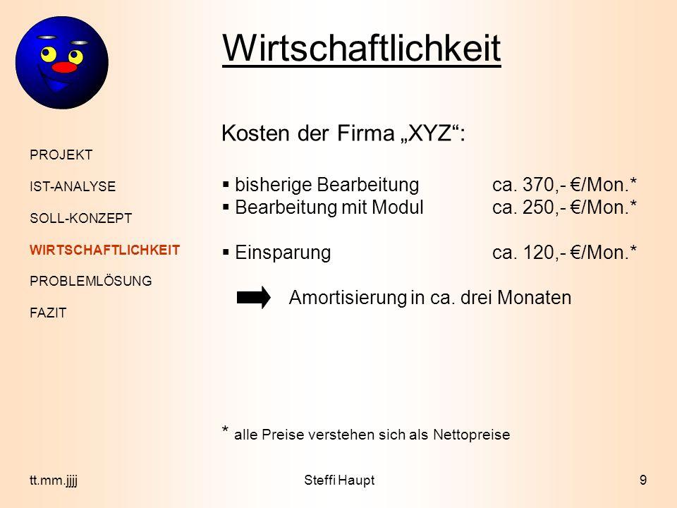 """Wirtschaftlichkeit Kosten der Firma """"XYZ :"""