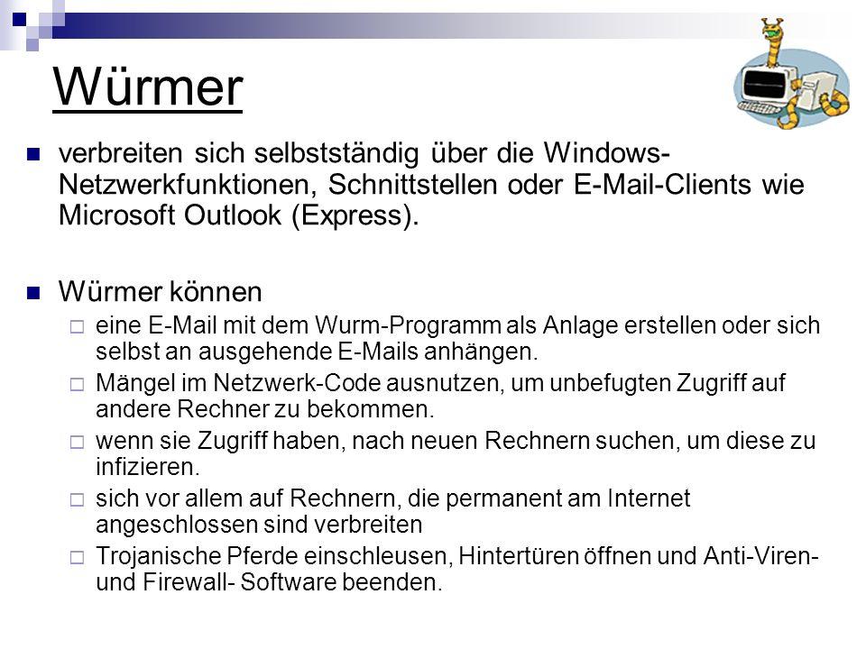 Würmer verbreiten sich selbstständig über die Windows-Netzwerkfunktionen, Schnittstellen oder E-Mail-Clients wie Microsoft Outlook (Express).