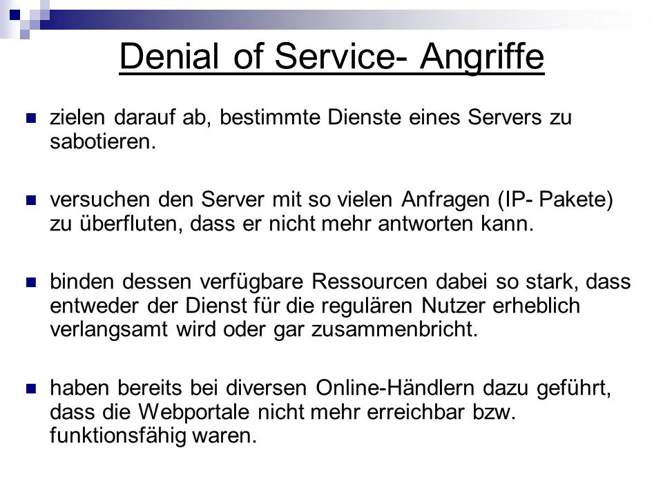 Denial of Service- Angriffe