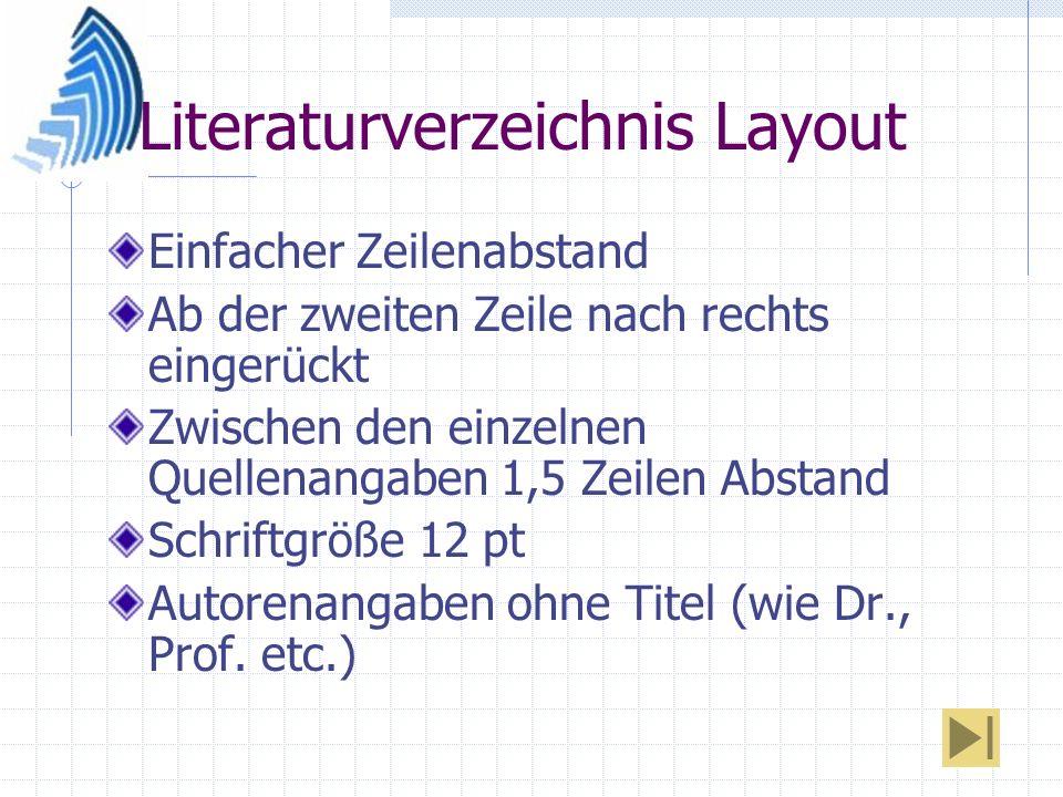 Literaturverzeichnis Layout