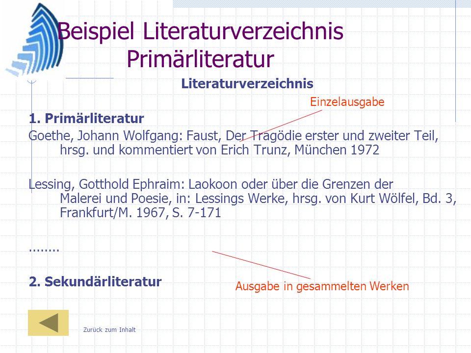 Beispiel Literaturverzeichnis Primärliteratur