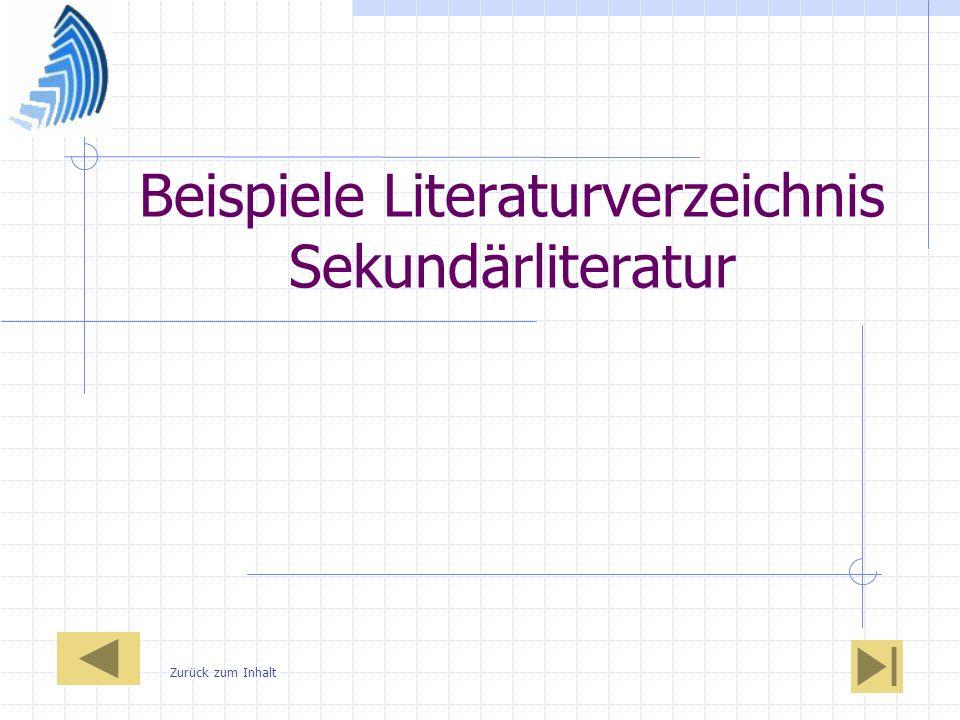 Beispiele Literaturverzeichnis Sekundärliteratur
