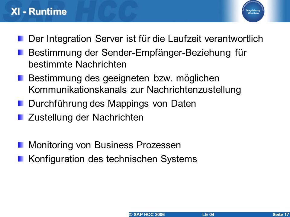 XI - Runtime Der Integration Server ist für die Laufzeit verantwortlich. Bestimmung der Sender-Empfänger-Beziehung für bestimmte Nachrichten.