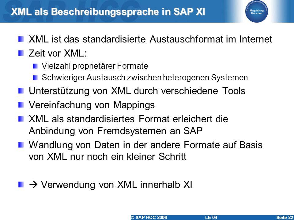 XML als Beschreibungssprache in SAP XI