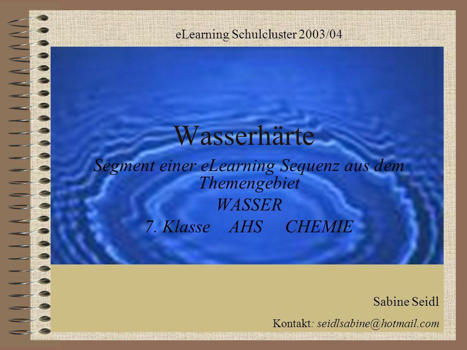 Wasserhärte Segment einer eLearning Sequenz aus dem Themengebiet