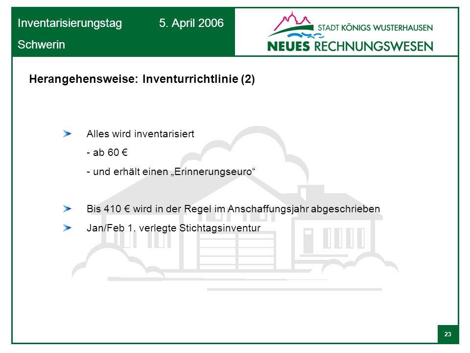 Herangehensweise: Inventurrichtlinie (2)