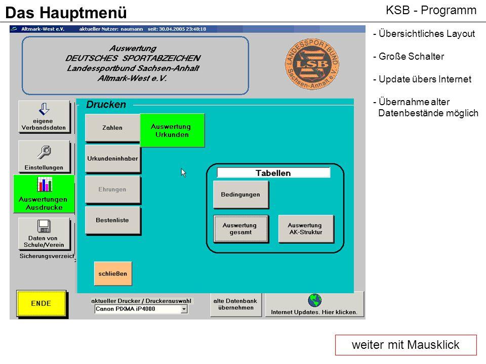 Das Hauptmenü KSB - Programm weiter mit Mausklick