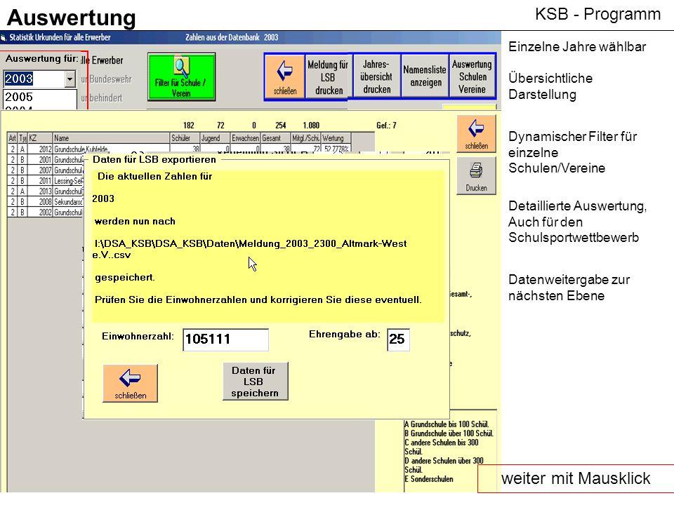 Auswertung KSB - Programm weiter mit Mausklick Einzelne Jahre wählbar