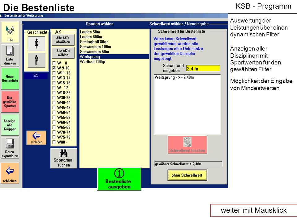 Die Bestenliste KSB - Programm weiter mit Mausklick