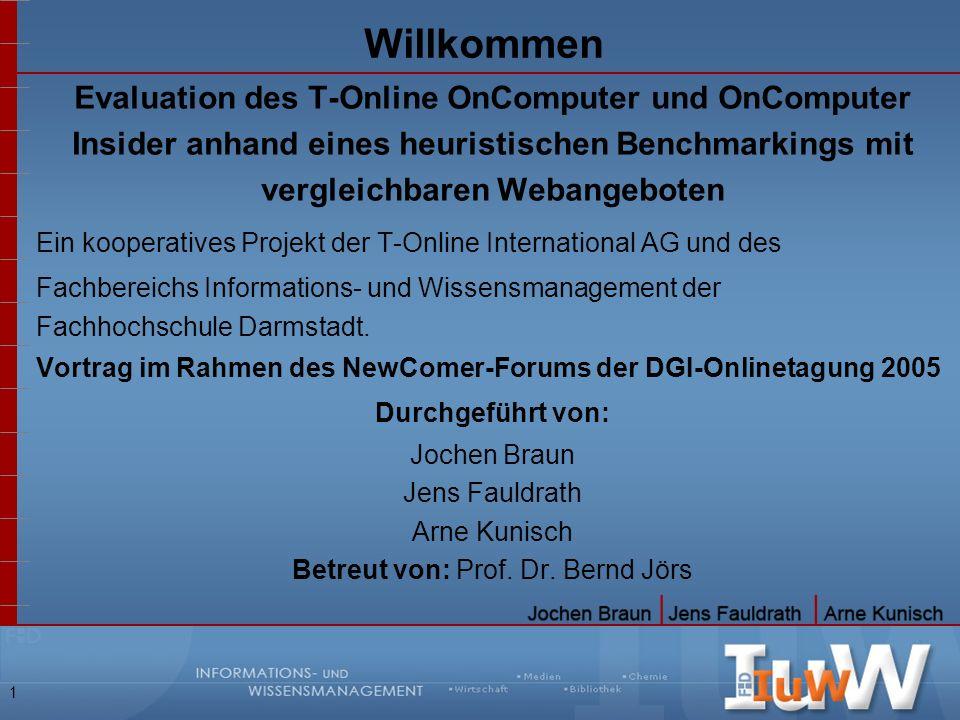 Willkommen Evaluation des T-Online OnComputer und OnComputer