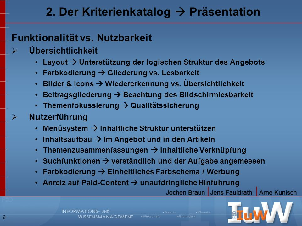 2. Der Kriterienkatalog  Präsentation