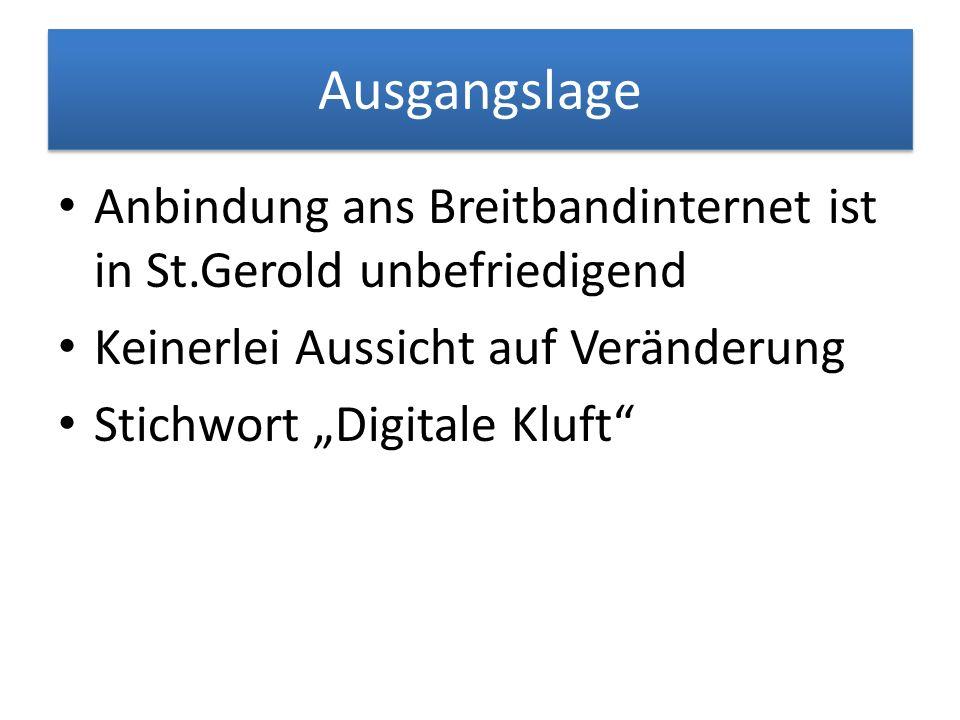 Ausgangslage Anbindung ans Breitbandinternet ist in St.Gerold unbefriedigend. Keinerlei Aussicht auf Veränderung.