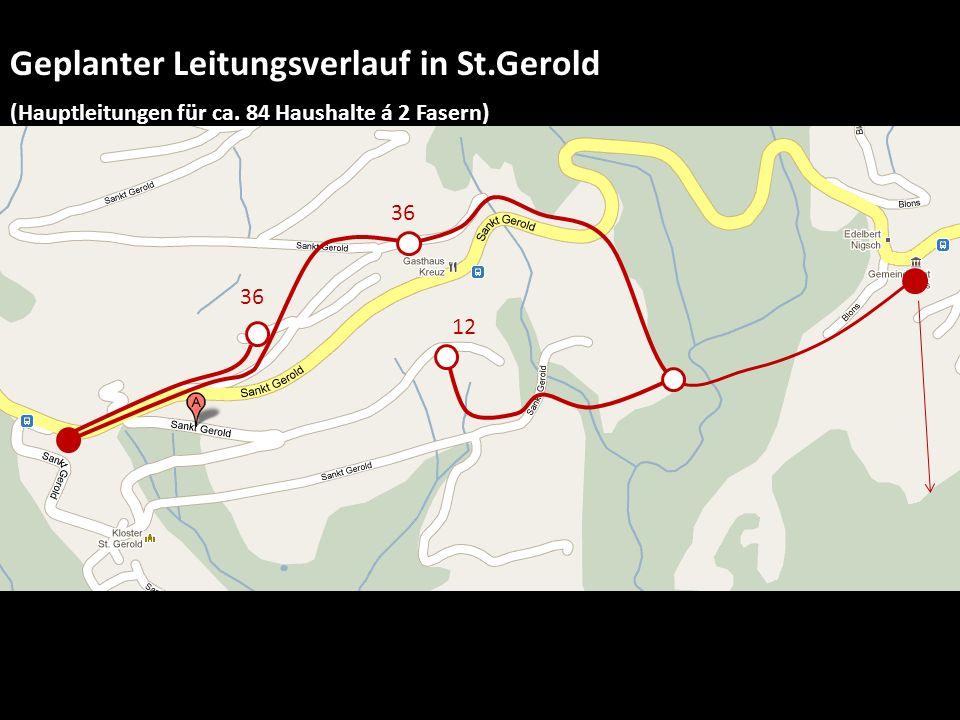 Geplanter Leitungsverlauf in St. Gerold (Hauptleitungen für ca