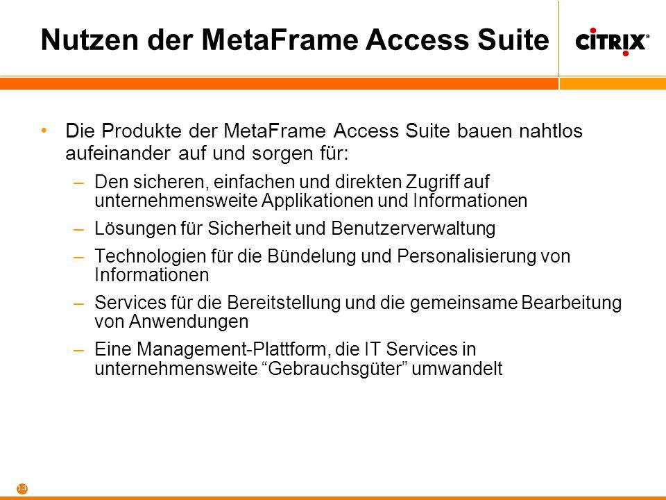 Nutzen der MetaFrame Access Suite