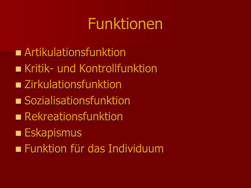 Funktionen Artikulationsfunktion Kritik- und Kontrollfunktion