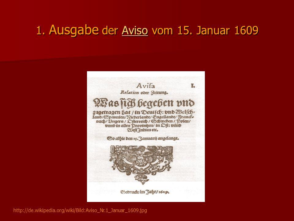 1. Ausgabe der Aviso vom 15. Januar 1609