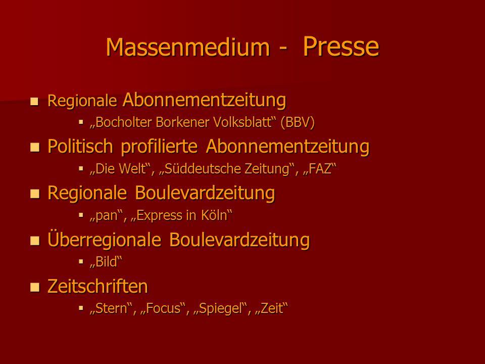 Massenmedium - Presse Politisch profilierte Abonnementzeitung