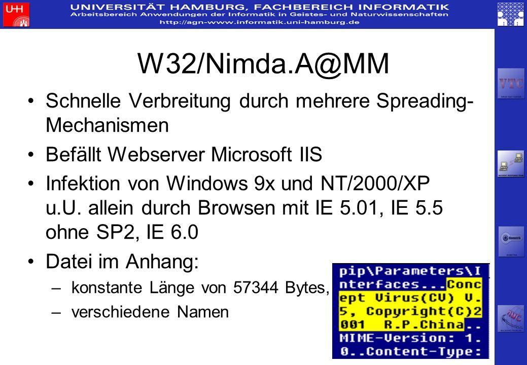 W32/Nimda.A@MMSchnelle Verbreitung durch mehrere Spreading-Mechanismen. Befällt Webserver Microsoft IIS.