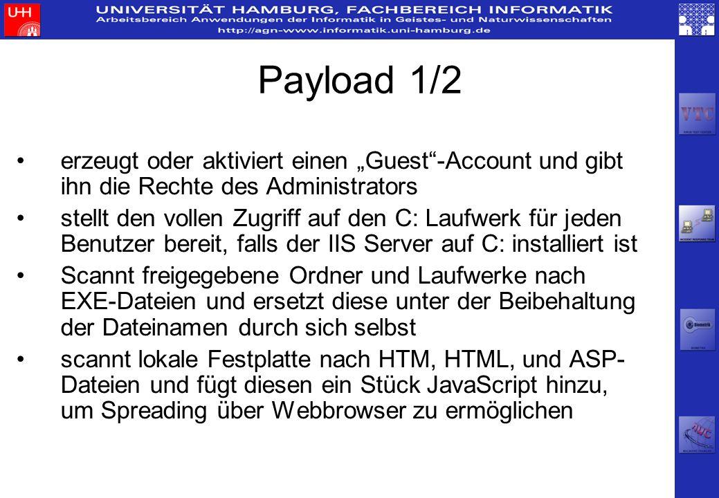 """Payload 1/2erzeugt oder aktiviert einen """"Guest -Account und gibt ihn die Rechte des Administrators."""
