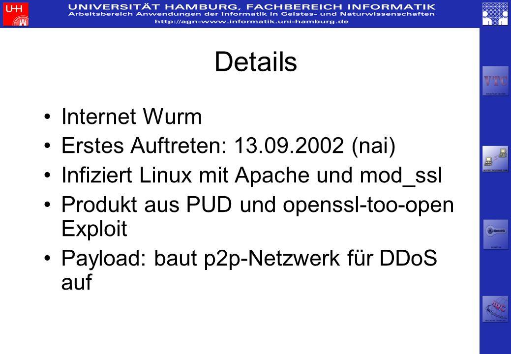 Details Internet Wurm Erstes Auftreten: 13.09.2002 (nai)