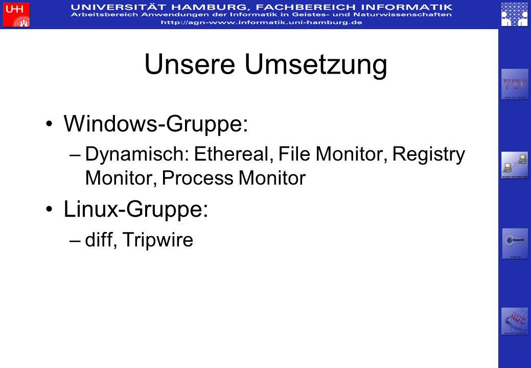 Unsere Umsetzung Windows-Gruppe: Linux-Gruppe: