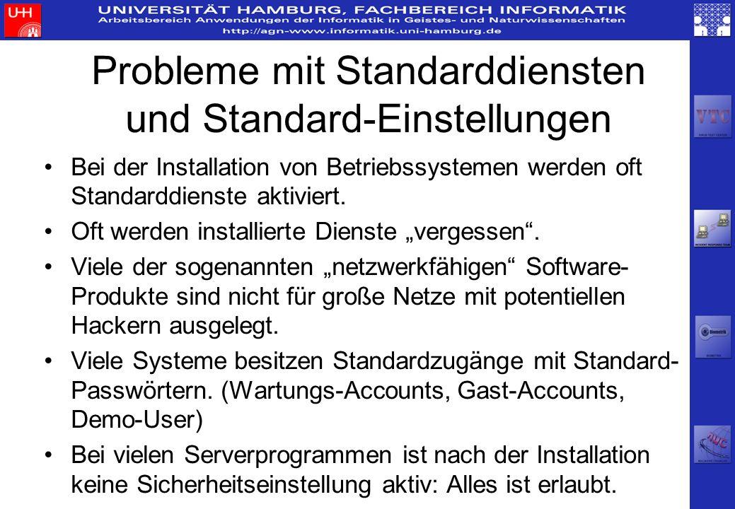 Probleme mit Standarddiensten und Standard-Einstellungen