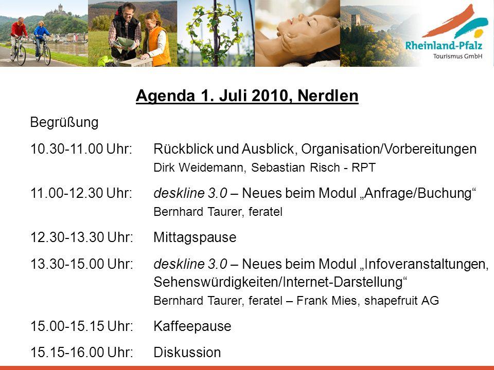 Agenda 1. Juli 2010, Nerdlen Begrüßung