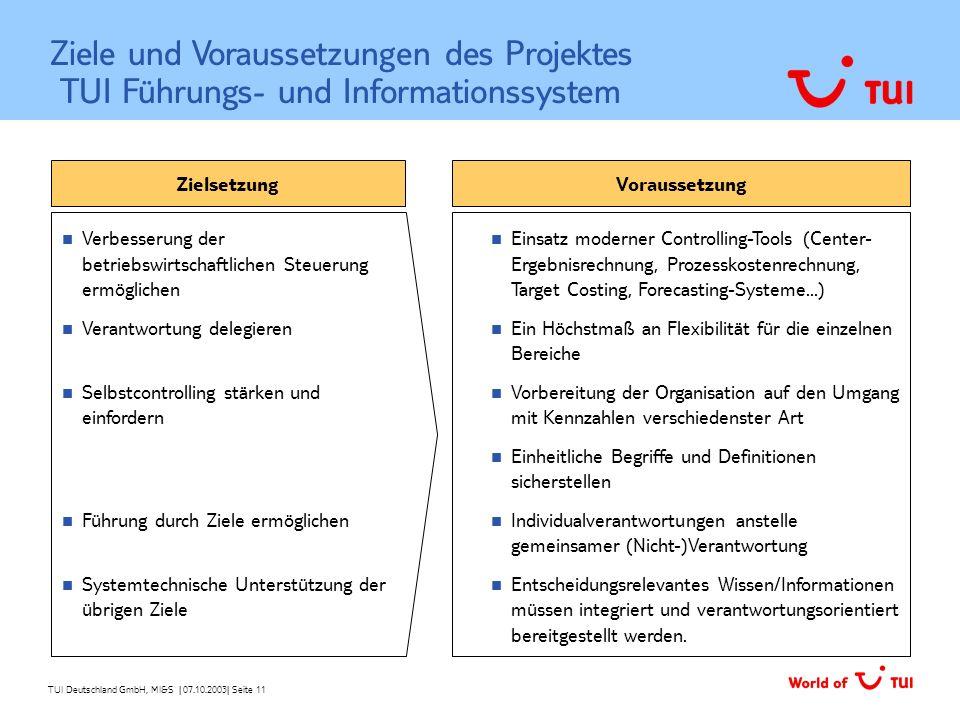 Ziele und Voraussetzungen des Projektes TUI Führungs- und Informationssystem