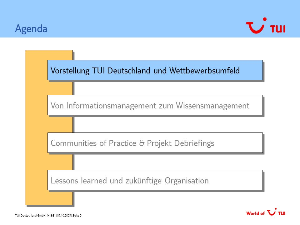Agenda Vorstellung TUI Deutschland und Wettbewerbsumfeld