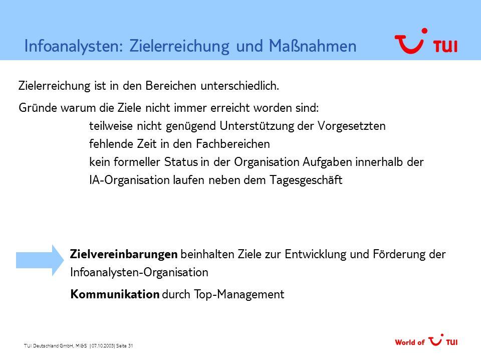 Infoanalysten: Zielerreichung und Maßnahmen