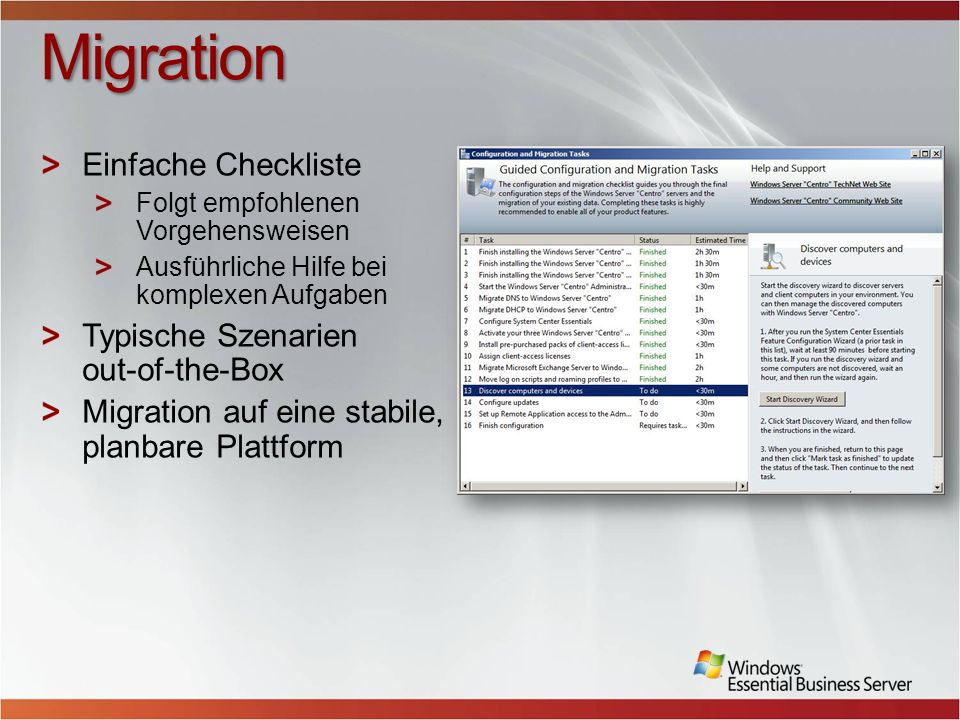 Migration Einfache Checkliste Typische Szenarien out-of-the-Box