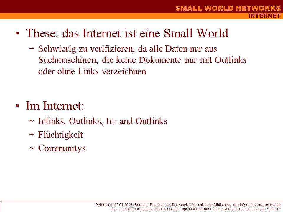 These: das Internet ist eine Small World