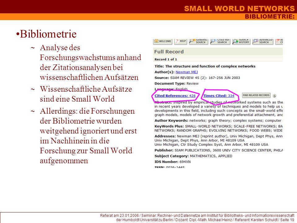 BIBLIOMETRIE: Bibliometrie. Analyse des Forschungswachstums anhand der Zitationsanalysen bei wissenschaftlichen Aufsätzen.