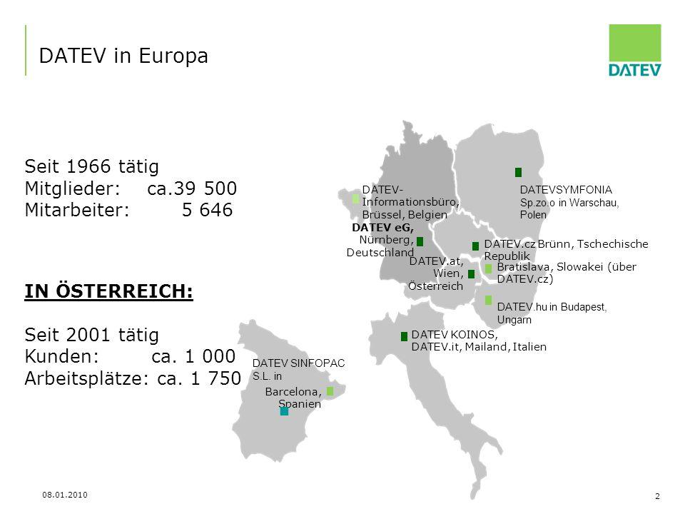 DATEV in Europa Seit 1966 tätig Mitglieder: ca.39 500