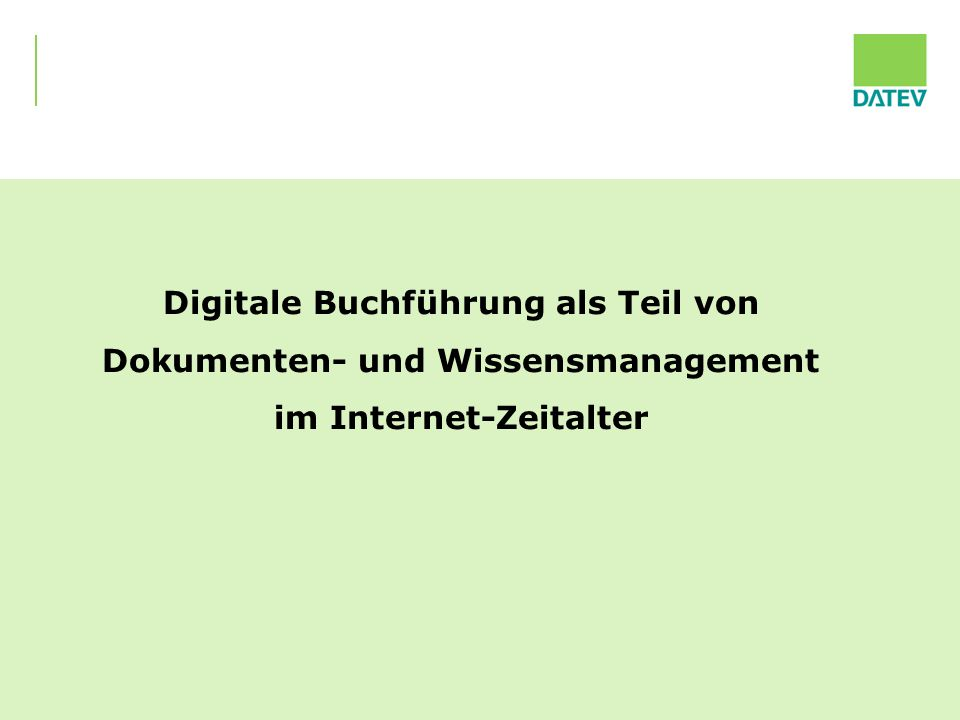 Digitale Buchführung als Teil von Dokumenten- und Wissensmanagement