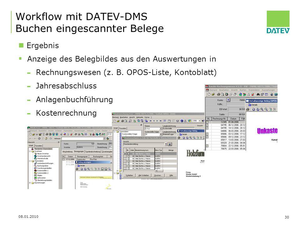 Workflow mit DATEV-DMS Buchen eingescannter Belege