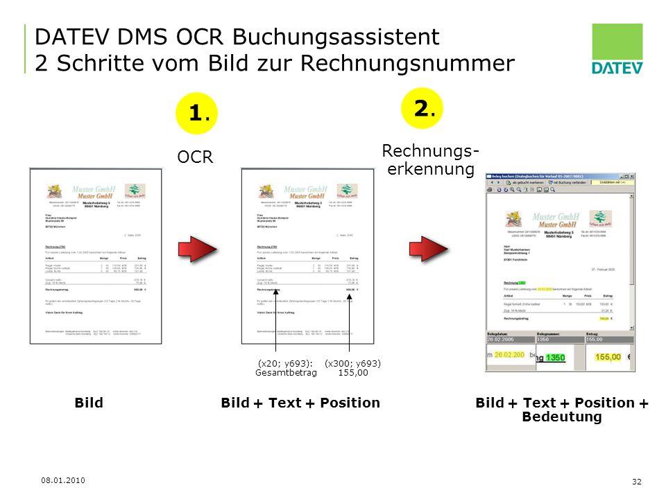 DATEV DMS OCR Buchungsassistent 2 Schritte vom Bild zur Rechnungsnummer