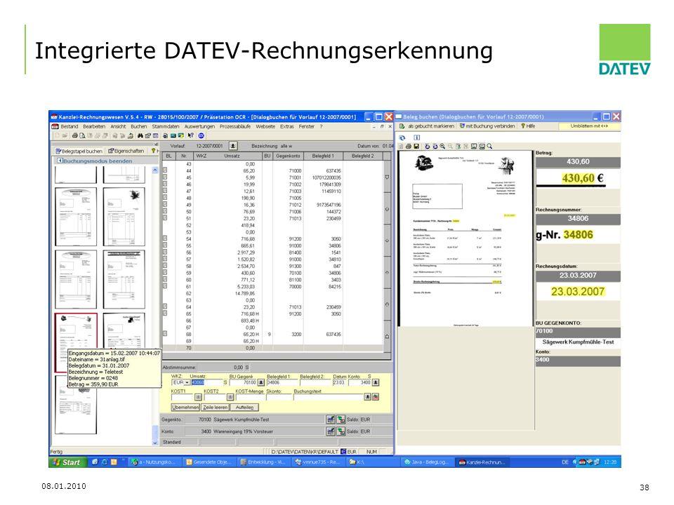 Integrierte DATEV-Rechnungserkennung